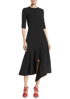 Oscar de la Renta 3/4-Sleeve Drop-Waist Fitted Asymmetric-Hem Midi Dress