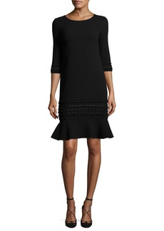Oscar de la Renta 3/4-Sleeve Embroidered Flounce-Hem Dress
