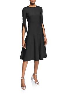 Oscar de la Renta 3/4-Sleeve Stretch-Wool Dress