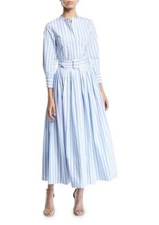 Oscar de la Renta 3/4-Sleeve Striped Shirt Dress