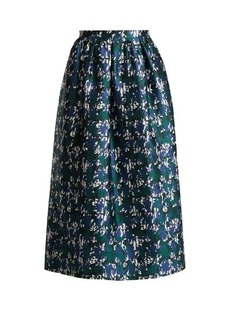 Oscar De La Renta Abstract floral-print silk-mikado skirt