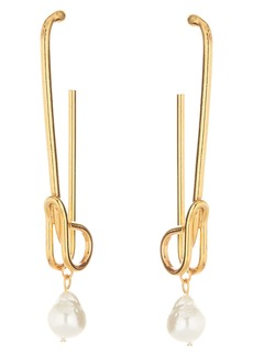 Oscar de la Renta Antique Pin Imitation Pearl Earrings
