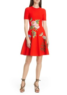 Oscar de la Renta Appliqué Fit & Flare Sweater Minidress