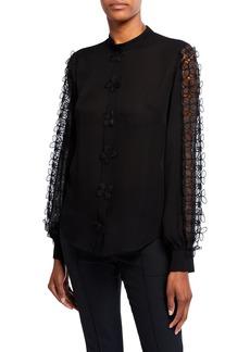 Oscar de la Renta Appliqued-Sleeve Silk Georgette Blouse