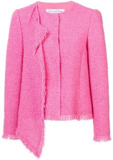 Oscar de la Renta asymmetric draped fringe-trim jacket - Pink & Purple