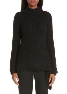 Oscar de la Renta Asymmetrical Metallic Merino Wool Sweater