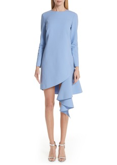 Oscar de la Renta Asymmetrical Ruffle Hem Stretch Wool Dress