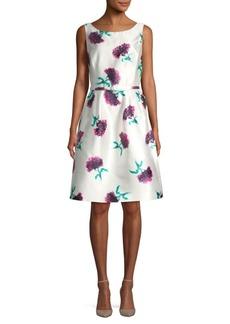 Oscar de la Renta Azalea Floral Fit & Flare SIlk Dress