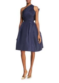 Oscar de la Renta Back Bow-Tie One-Shoulder Silk Taffeta Cocktail Dress