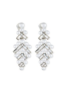 Oscar de la Renta Baguette & Pearly Drop Earrings