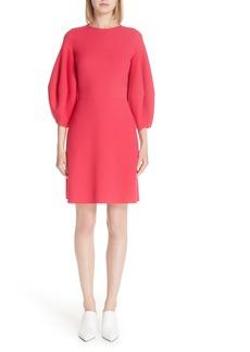 Oscar de la Renta Balloon Sleeve Stretch Wool Dress