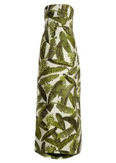 Oscar De La Renta Banana leaf-jacquard strapless gown