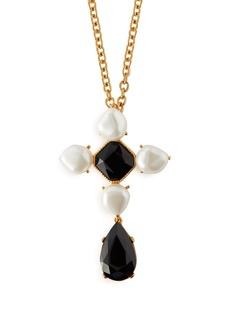 Oscar De La Renta Baroque faux-pearl and crystal brooch necklace