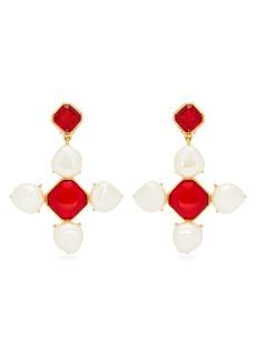 Oscar De La Renta Baroque faux-pearl and crystal drop earrings