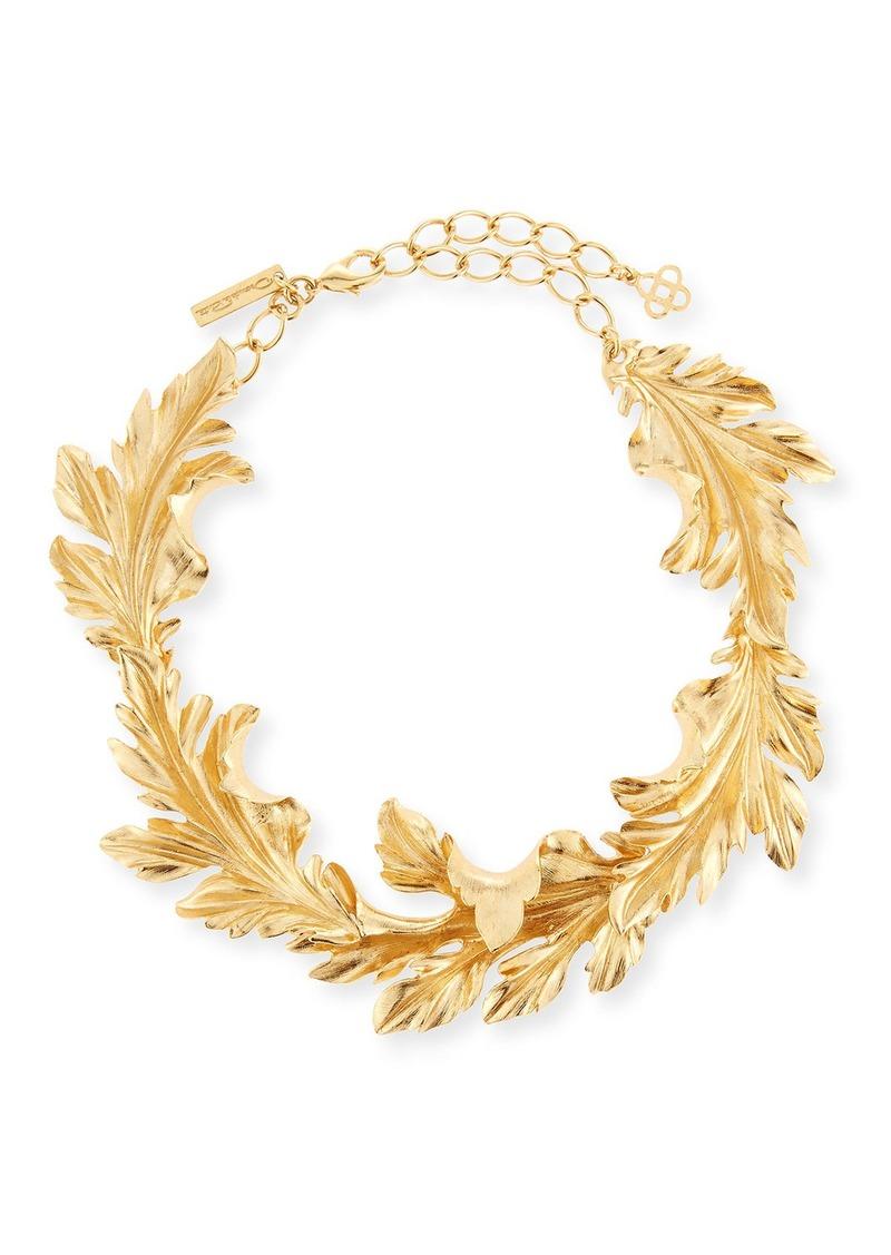 Oscar de la Renta Baroque Leaves Collar Necklace