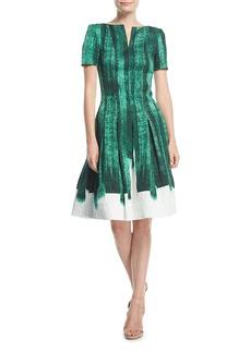 Oscar de la Renta Bateau-Neck Short-Sleeve Brushstroke Cocktail Dress