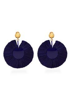 Oscar De La Renta Bead-embellished large raffia clip-on earrings
