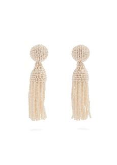 Oscar De La Renta Bead-embellished tassel-drop clip-on earrings