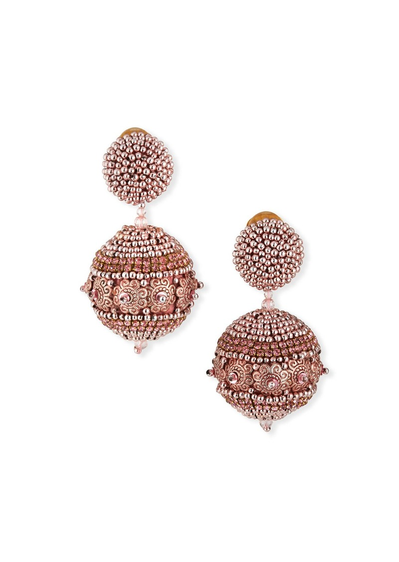 Oscar de la Renta Beaded Ball Earrings  Rose Gold