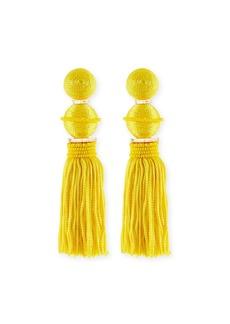 Oscar de la Renta Beaded Ball Tassel Clip-On Earrings
