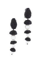 Oscar de la Renta Beaded Cap Imitation Pearl Earrings