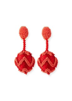 Oscar de la Renta Beaded Chevron Ball Drop Clip-On Earrings
