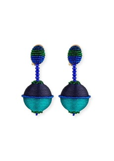 Oscar de la Renta Beaded Drop Clip-On Earrings