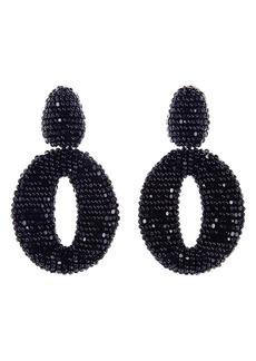 Oscar de la Renta Beaded Frontal Hoop Clip Earrings