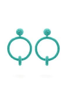 Oscar De La Renta Beaded hoop-drop clip-on earrings
