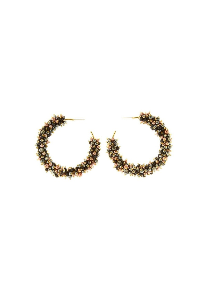 Oscar de la Renta Beaded Hoop Earrings