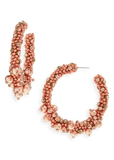Oscar de la Renta Beaded Hoop Eearrings