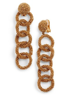 Oscar de la Renta Beaded Link Drop Earrings