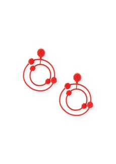 Oscar de la Renta Beaded Orbits Clip-On Hoop Drop Earrings