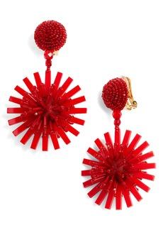 Oscar de la Renta Beaded Pom Pom Flower Drop Earrings