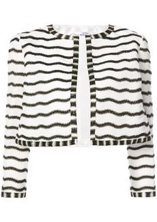 Oscar de la Renta beaded stripe cropped jacket - White