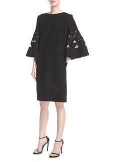 Oscar de la Renta Bell-Sleeve Shift Wool-Blend Cocktail Dress