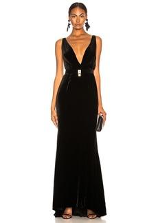 Oscar de la Renta Belt Detail Plunging Velvet Gown
