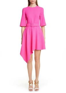 Oscar de la Renta Belted Asymmetrical Wool Blend Minidress