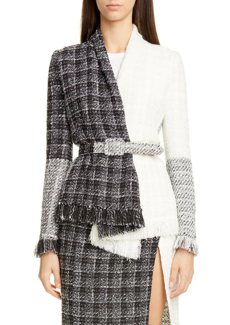 Oscar de la Renta Belted Colorblock Tweed Jacket