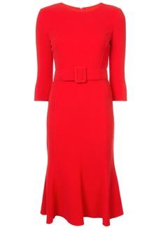 Oscar de la Renta belted fishtail shift dress - Red