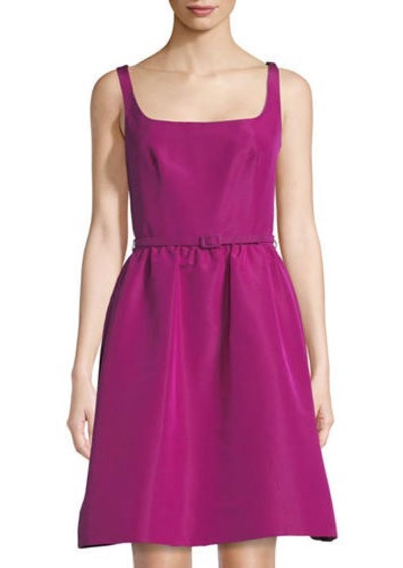 Oscar de la Renta Oscar de la Renta Belted Fit & Flare Silk Dress ...