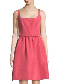 Oscar de la Renta Belted Fit & Flare Silk Dress