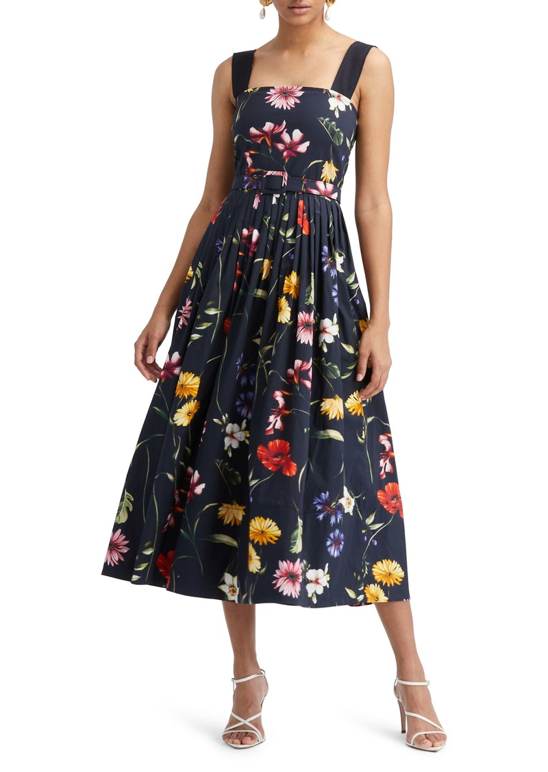 Oscar de la Renta Belted Floral Print Sleeveless A-Line Midi Dress