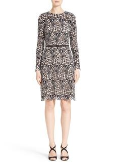 Oscar de la Renta Belted Lace Dress