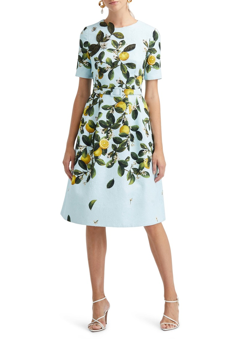 Oscar de la Renta Belted Lemon Print Fit & Flare Brocade Dress