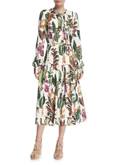 Oscar de la Renta Belted Monkey-Print Dress