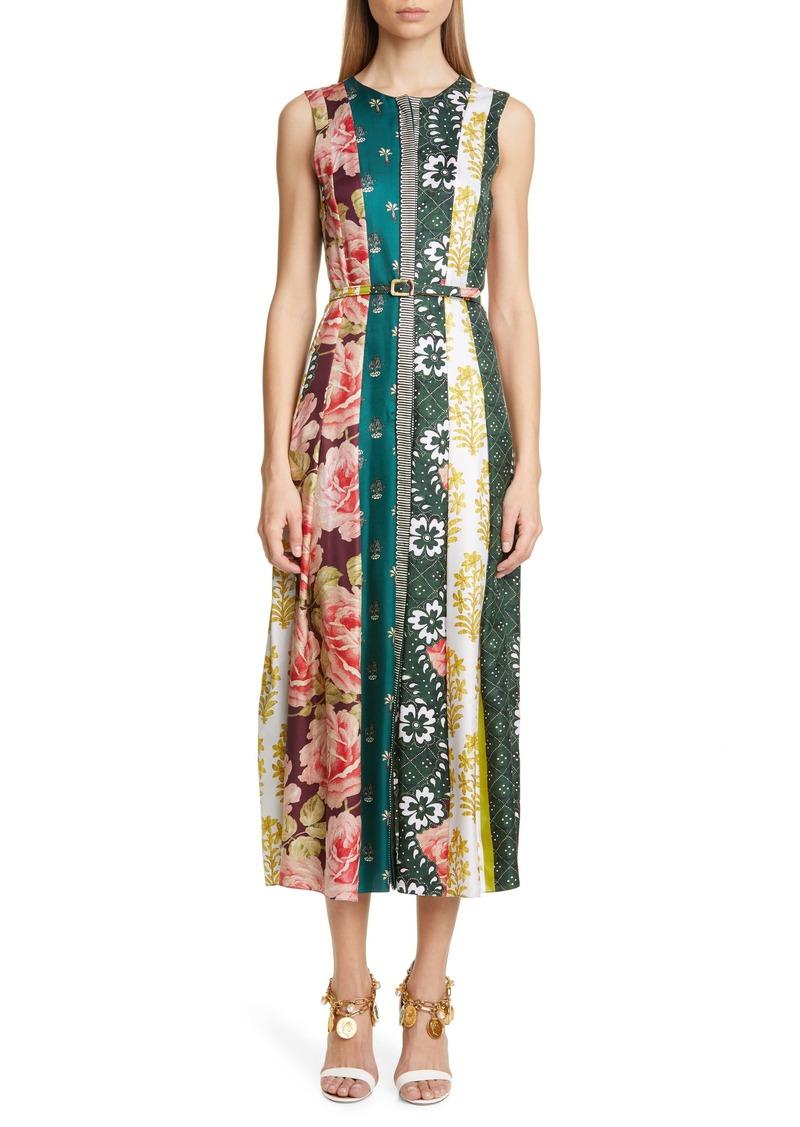 Oscar de la Renta Belted Patchwork Stripe Silk Twill Midi Dress