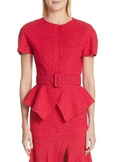 Oscar de la Renta Belted Peplum Wool Blend Tweed Jacket
