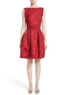 Oscar de la Renta Belted Tweed Dress