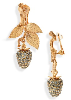 Oscar de la Renta Berry Clip-On Earrings